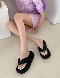 Fashion Black Thick Bottom Knotted Flip-flops