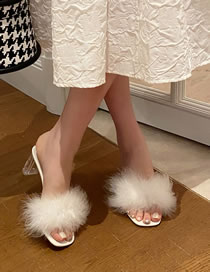 Fashion White Crystal Heel Slippers