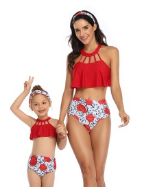 Fashion Red Cutout Hollow Printed Hanging Neck High Waist Parent-child Split Swimsuit