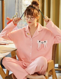 Fashion Pink Pure Cotton Long-sleeved Printed Lapel Loose Home Wear Pajamas