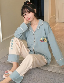 Fashion Letter Long-sleeved Printed Baby Collar Pajama Suit