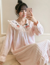 Fashion Pink Strawberry Flannel Thickened Printed Home Service Long Nightdress