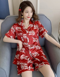 Fashion Red Long-sleeved Cotton Print Can Be Worn Outside Home Clothes