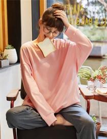 Fashion Powder Wear Cotton Long-sleeved Pajamas Suits