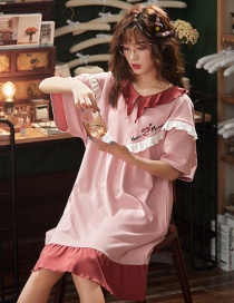 Fashion Love Pink Pure Cotton Short-sleeved Loose Print Baby Collar Nightdress