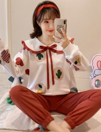 Fashion Cactus Long-sleeved Printed Contrast Cotton Pajamas Suit
