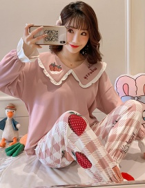 Fashion Strawberry Long-sleeved Printed Contrast Cotton Pajamas Suit