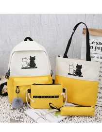 Fashion Yellow Cat Print Stitching Contrast Color Backpack