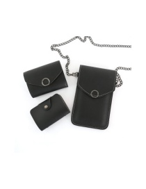 Fashion Black Chain Flip Can Touch Screen Mobile Phone Bag Wallet Card Bag Three-piece Combination