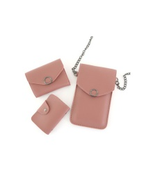 Fashion Dark Pink Chain Flip Can Touch Screen Mobile Phone Bag Wallet Card Bag Three-piece Combination
