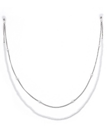 Fashion White K Double-layer Beaded Handmade Imitation Pearl Chain Glasses Chain