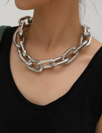 Fashion White K Handmade Hollow Geometric Thick Chain Oval Necklace