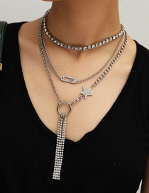 Fashion White K Geometric Hollow Claw Chain Diamond Brooch Star Tassel Necklace