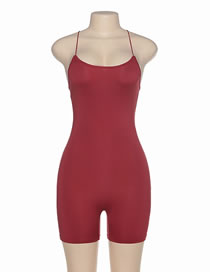 Fashion Red Wine Strapless Slim-fit Jumpsuit With Cross Straps