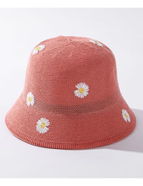 Fashion Watermelon Red Little Daisy Knitted Embroidered Fisherman Hat