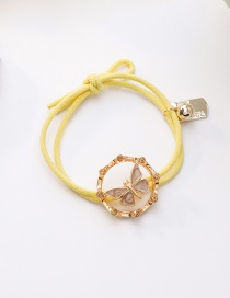 Fashion Yellow Hollow Drop Oil Butterfly Diamond Alloy Knotted Hair Rope