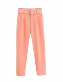 Fashion Pink High Waist Straight Trousers With Belt