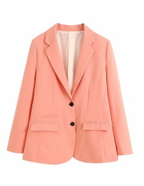 Fashion Light Pink Single-breasted Solid Color Long Blazer
