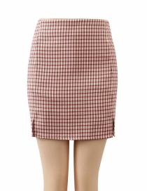 Fashion Pink Houndstooth Split A-line Skirt