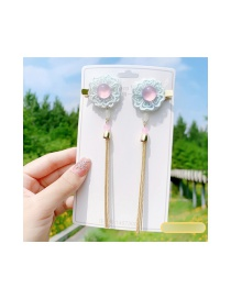 Fashion Ice Muscle Mesh Flower Butterfly Butterfly Alloy Fringe Hairpin Set