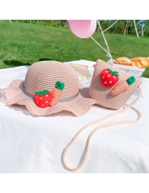 Fashion Strawberry Section-pink Suit Childrens Section (hat Circumference About 48-52cm) About 2-7 Years Old Flower Lace Butterfly Straw Sun Protection Hat Braided Rope Shoulder Bag