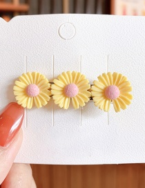 Fashion Trumpet-yellow Small Daisy Resin Contrast Alloy Hair Clip
