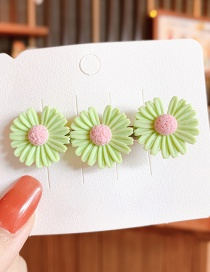 Fashion Large-powder Core Green Small Daisy Resin Contrast Alloy Hair Clip