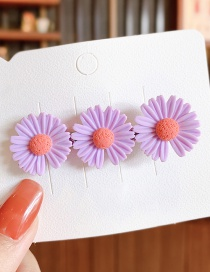 Fashion Large-purple Small Daisy Resin Contrast Alloy Hair Clip