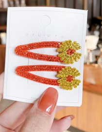 Fashion 1 Pair Of Red Bb Clips Diamond Flower Geometric Alloy Hollow Hairpin Set