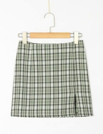 Fashion Green Checked Printed Slit Skirt