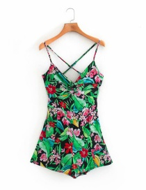 Fashion Green Flower Print Shoulder Strap Sling Jumpsuit