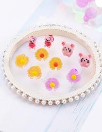 Fashion 28#hyunya Flower 7-piece Set Quicksand Resin Alloy Geometric Fruit Hairpin Set For Children