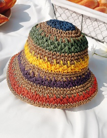 Fashion Deep Rainbow Color-straw Hat Hat Circumference About 50cm Manual Measurement A Little Error About 2-5 Years Old Stitching Contrast Sunshade Sun Hat Childrens Straw Hat