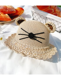 Fashion Lace Khaki Hat Circumference About 52cm 2 Years Old-5 Years Old Straw Cats Hitting Childrens Sunscreen Fisherman Hat
