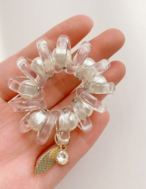Fashion White Telephone Line Resin Hit Color High Elasticity Hair Rope