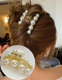 Fashion Hair Rope Pearl Butterfly Combined With Gold Hollow Hairpin Hair Rope