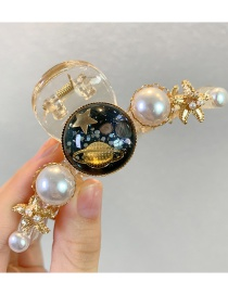 Fashion Starry Sky Black Pearl Resin Five-pointed Star Round Alloy Grip