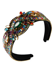 Fashion Color Cross Alloy Wide-brimmed Headband With Rhinestones