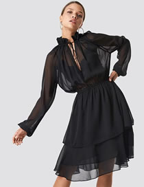 Fashion Black Lace High Neck Long Sleeve Chiffon Dress