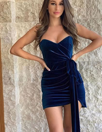 Fashion Navy Blue One-shoulder Tethered Gold Velvet Wrap Chest Dress