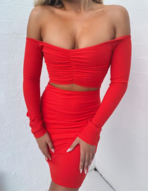 Fashion Red One-line Collar Long-sleeved Pleated Dress
