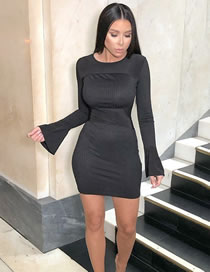 Fashion Black Butterfly Sleeve Round Neck Thread Stitching Package Hip Dress