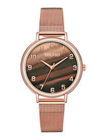 Fashion Brown Womens Watch With Digital Mesh And Marble Mesh Alloy Belt