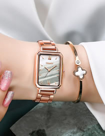 Fashion White Rectangular Dial Steel Band Waterproof Quartz Ladies Watch