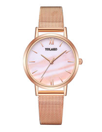 Fashion Pink Quartz Ladies Watch With Mesh Scale Marble