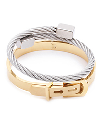 Fashion 2 Piece Set Gold + Silver 2 Roman Alphabet Stainless Steel Mens Bangle Set