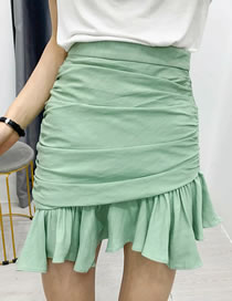 Fashion Green Pleated Bag Hip Ruffle Skirt