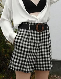 Fashion Lattice Black And White Check Shorts With Belt