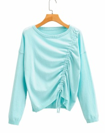Fashion Blue Drawstring Knotted Crew Neck Sweater