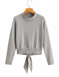 Fashion Gray Knotted Solid Color Sweater On Back